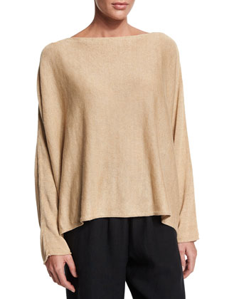 Long-Sleeve Linen Bateau-Neck Top, Gold
