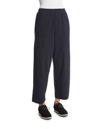 Basic Cropped Pima Trousers, Navy