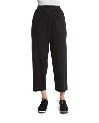 Basic Cropped Pima Trousers, Black