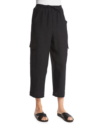 Nobu Cargo Cropped Linen Trousers, Black