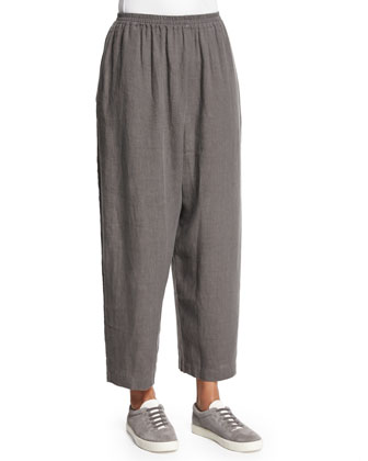 Wide-Leg Linen Japanese Ankle Trousers, Elephant