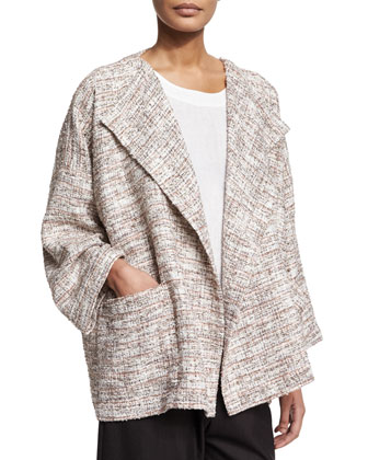 Long-Sleeve Open-Front Coat, Ivory