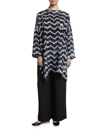 Long-Sleeve Chevron Long Top, Indigo Dark
