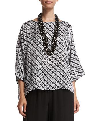 3/4-Sleeve Diamond-Print T-Shirt, Indigo Dark