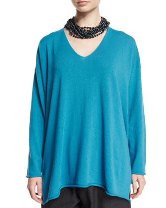 Long-Sleeve A-Line Cashmere Sweater, Marine