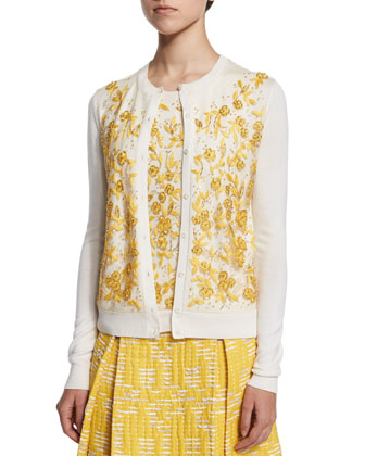 Long-Sleeve Floral-Embroidered Cardigan, Ivory/Marigold