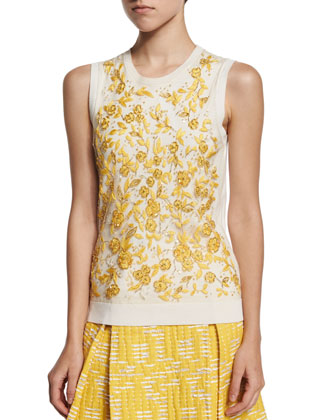 Sleeveless Floral-Embroidered Shell, Ivory/Marigold