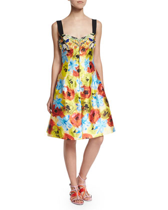 Sleeveless Embellished Floral-Print Dress, Marigold/White