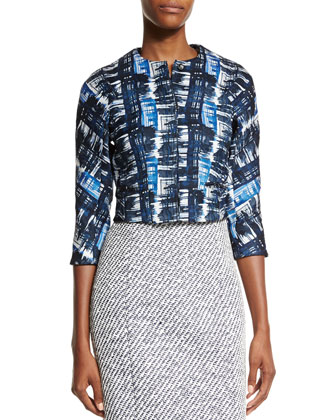 Watercolor Plaid Jacquard Jacket, Marine Blue