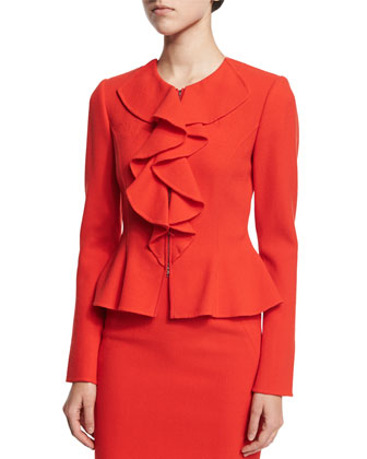 Long-Sleeve Ruffle-Front Jacket, Vermillion