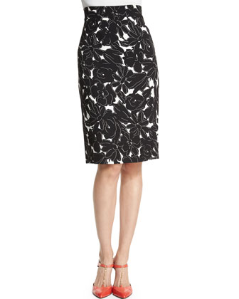 Long-Sleeve Embellished Sweater & Daisy-Print Pencil Skirt