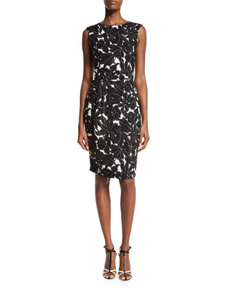 Floral-Print Sleeveless Sheath Dress, Black/White