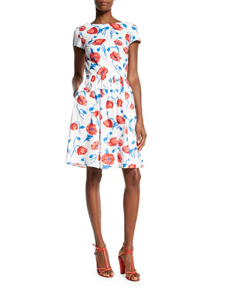 Short-Sleeve Poppy-Print Dress, Vermillion