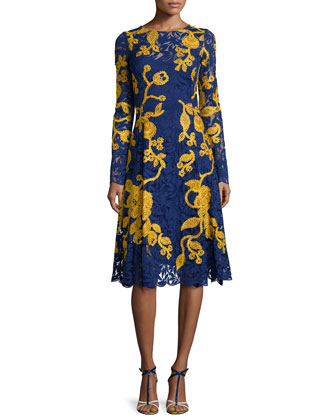 Two-Tone A-Line Lace Dress, Marine Blue