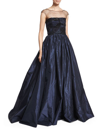 Embellished Patchwork-Lace Gown, Dark Navy