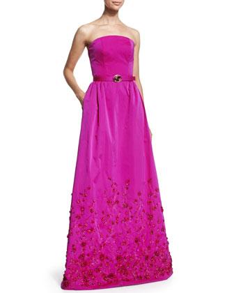 Strapless Floral-Embellished Gown, Magenta