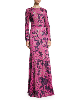 Long-Sleeve Two-Tone Lace Gown, Magenta