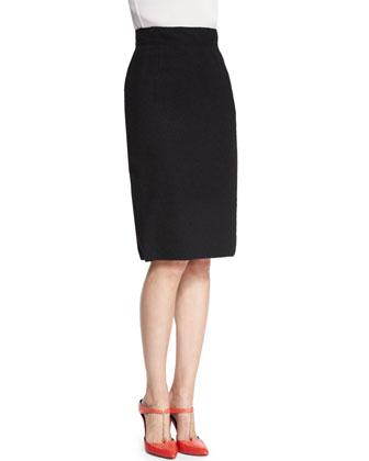 Long-Sleeve Daisy-Print Blouse & High-Waist Pencil Skirt