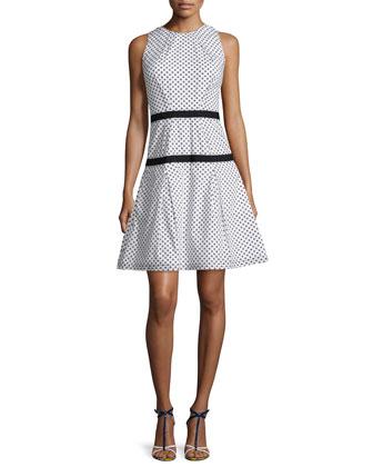 Sleeveless Daisy-Dot Dress, White/Black