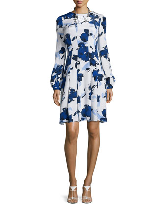 Watercolor-Print Fit-&-Flare Dress, Marine Blue