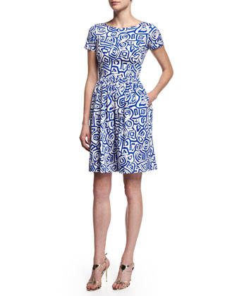Short-Sleeve Printed Dress, Marine Blue