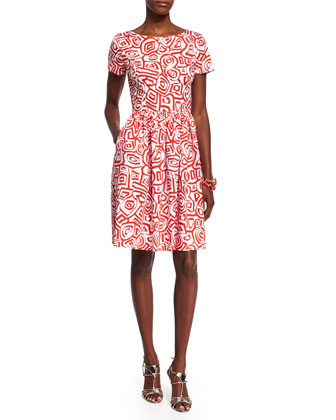 Short-Sleeve Printed Dress, Persimmon