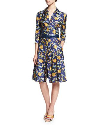 3/4-Sleeve Printed Shirtdress, Marine Blue
