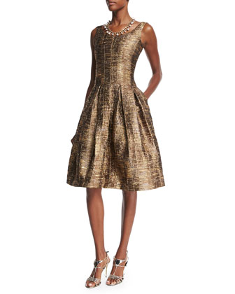 Sleeveless Scoop-Neck Metallic Matelasse Dress, Dark Gold