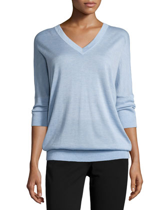 3/4-Sleeve V-Neck Sweater & Drake Slim-Leg Cropped Pants