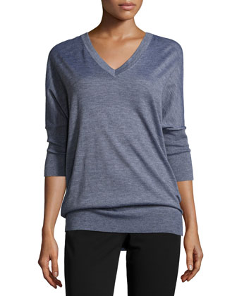 3/4-Sleeve V-Neck Sweater & Drake Slim-Leg Cropped Pants