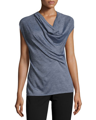 Cap-Sleeve Draped-Front Sweater, Gray