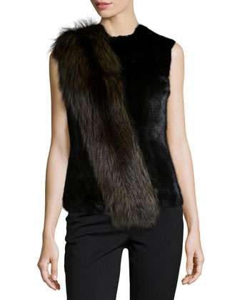 Jewel-Neck Sleeveless Fur Shell, Black
