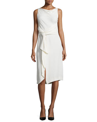 Sleeveless Sheath Dress W/Ruffle, Chalk