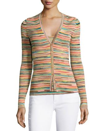 Multi-Striped Ribbed Cardigan, Multi Colors