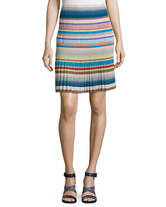 Multi-Stripe Drop-Waist Skirt, Blue/Multi Colors
