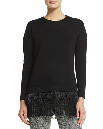 Long-Sleeve Feather-Trimmed Sweater, Black