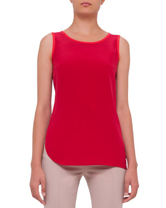 Sleeveless Contrast-Trim Blouse, Cherry