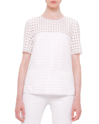 Short-Sleeve Circle-Embroidered Blouse, Cream
