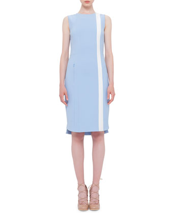 Sleeveless Contrast-Stripe Sheath Dress, Sky Blue/Cream