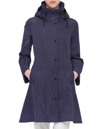 Snap-Front Parka Jacket, Indigo