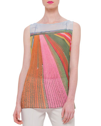 Sleeveless Bateau-Neck Printed Tunic, Multi Colors