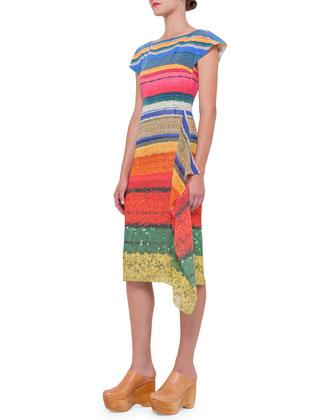Floral-Print Side-Ruffle Sheath Dress, Multi Colors