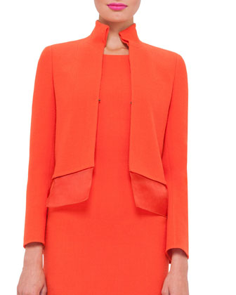 Long-Sleeve Layered-Hem Jacket, Zinnia