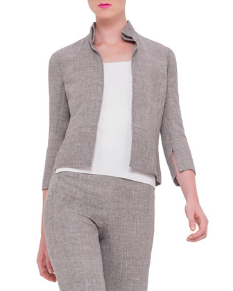 3/4-Sleeve Mock-Neck Jacket, Scoop-Neck Fitted Tank & Carla Straight-Leg Pants