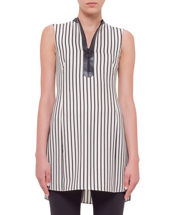 Long-Sleeve Long Coat, Sleeveless Striped Zip-Front Tunic & Stretch Jersey ...