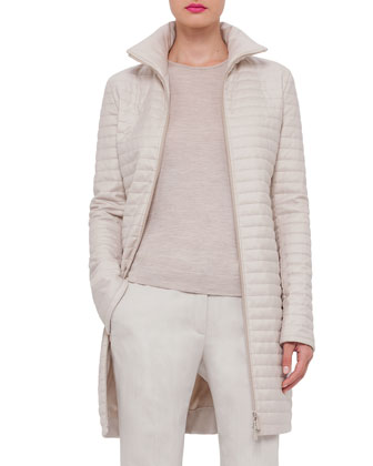 Quilted Cashmere Zip-Front Coat, Ranunculus