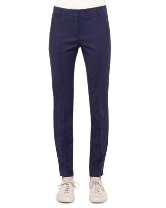 3/4-Sleeve Boxy Jacket, Short-Sleeve Sheer-Neck Sweater Top & Mid-Rise ...