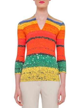 3/4-Sleeve Printed T-Shirt, Multi Colors