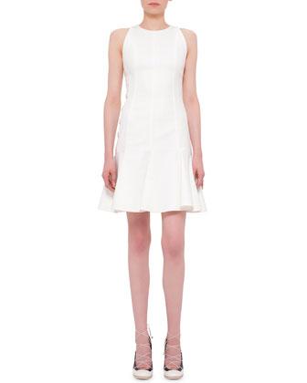 Sleeveless Fit-&-Flare Dress, Cream