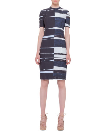 Short-Sleeve Brushstroke Sheath Dress, Multi Colors